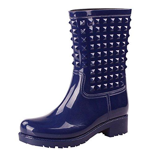 PVC Waterproof Boots Blue Galoshes fereshte Rivet Women's Winter 7T4w4t