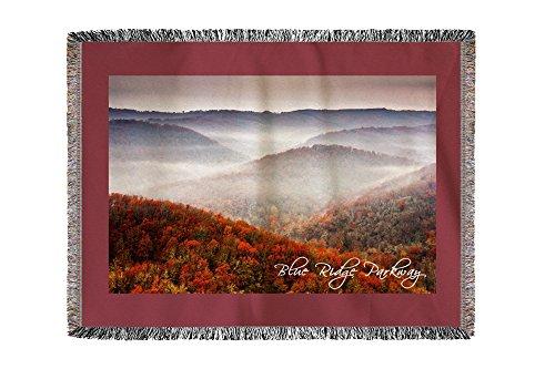 Lantern Press Blue Ridge Parkway - Autumn Fog Over Hills (60x80 Woven Chenille Yarn Blanket)