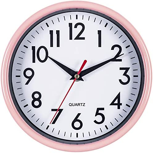 Pink Wall Clock 8″ Silent Non-Ticking Quality Quartz Battery Operated Round Clock
