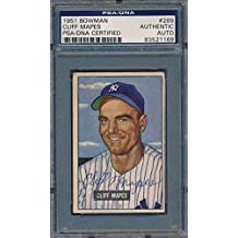 1951 Bowman #289 Cliff Mapes Certified Authentic Auto *1169 - PSA/DNA Certified - Baseball Slabbed Autographed Cards