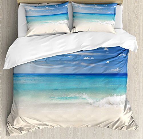 - Ambesonne Ocean Duvet Cover Set King Size, Tropical Haven Style Sandy Shore and Sea with Waves Escape to Paradise Theme, Decorative 3 Piece Bedding Set with 2 Pillow Shams, Cream Turquoise White