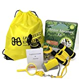 Unplugged Explorers 9 Piece Kids Outdoor Adventure Kit Purple or Yellow Backpack, Binoculars, Flashlight, Compass, Bug Collector, Whistle, Magnifying Glass - Educational Boy Girl STEM Gift (Yellow)