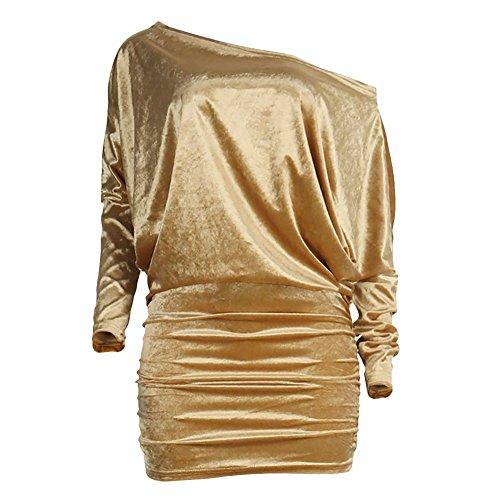 Aro Lora En Velours À Manches Longues Épaule Femmes Ruché Bodycon Mini Robe Or Club
