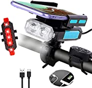Bike Lights Front and Back, Millketitech 5 in 1 Rechargeable Waterproof USB Bicycle LED Light with Phone Holde