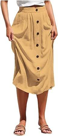DressUWomen Causales bolsillos acogedoras puros individuales - falda midi ol pecho para Mujers