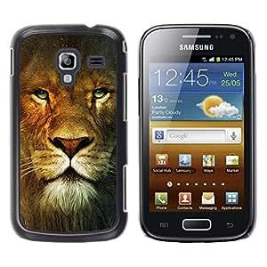 TopCaseStore / la caja del caucho duro de la cubierta de protección de la piel - Lion Portrait Green Eyes Wild Big Cat Africa - Samsung Galaxy Ace 2 I8160 Ace II X S7560M