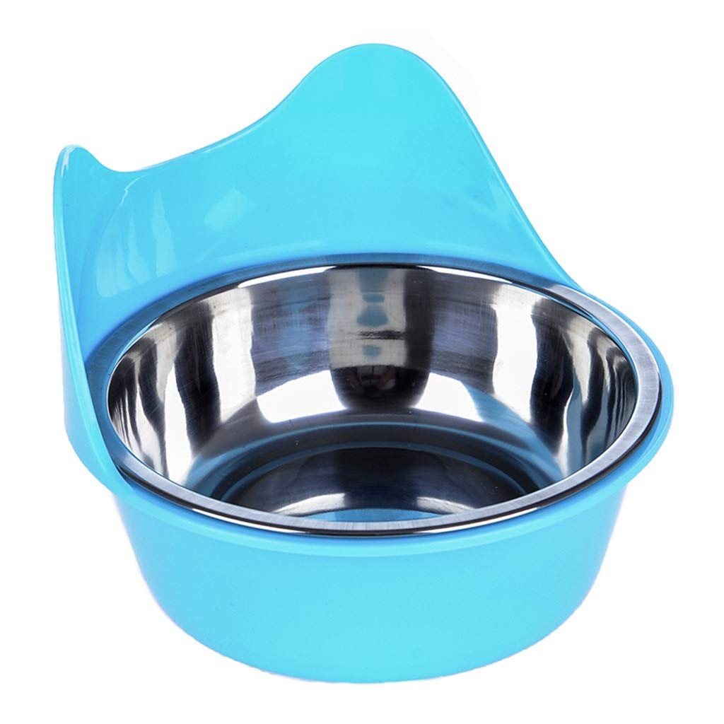 bluee Hanging Cat Bowl Dog Bowl Cat Dog Food Bowl Single Bowl Rice Bowl Cat Bowl Water Bowl Rabbit Dog Pet Supplies Double Bowl (color   bluee)