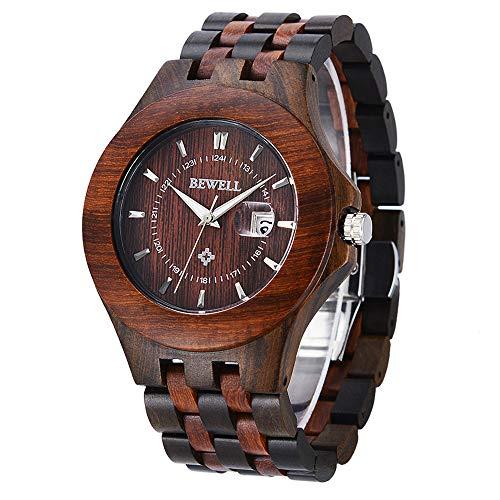 Bewell Wooden Watches Mens, Quartz Analog Date Display Lightweight Handmade Wood Wrist Watch for Men