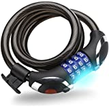 Xtreme Bright® Illumilock Cable Bike Lock - Ultimate Protection Combination Cable Lock with LED Light - Pick & Drill Resistant Security - 100% Lifetime Guarantee Through Triumph Innovations Only