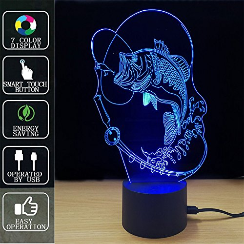 Fish 3D night light touch table lamp, Fipart 7 color 3D phantom atmosphere light, with acrylic base and USB decorative intelligent LED lights