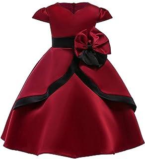 feiXIANG Ragazze Bambina Vestiti da Sposa con Bowknot Moda Vestito della Carnevale Comunione Estivo Abiti Senza Spalline Elegante Abito da Princess