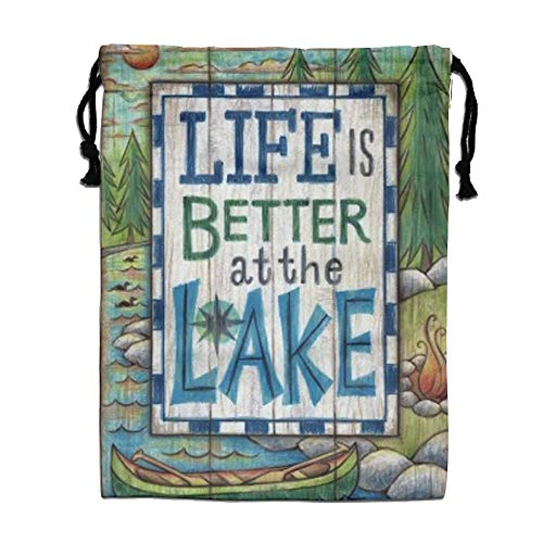 CMTRFJ Personalized Drawstring Bag-Life-is-Better-at-The-Lake Holiday/Party/Christmas Tote Bag by CMTRFJ