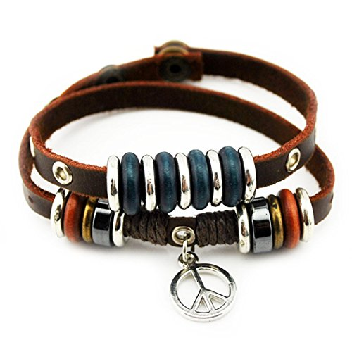 [Real Spark(TM) Peace Sign Pendant Green Alloy Rings Leather Button Adjustable Gift Wrap Bracelet] (Diy Half Man Half Woman Costume)