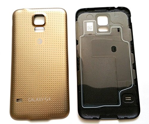 save off 6d038 3669a OEM Original Battery Door Cover Housing Back Case for Samsung Galaxy S5  AT&T G900A Replacement Back Cover (Gold)