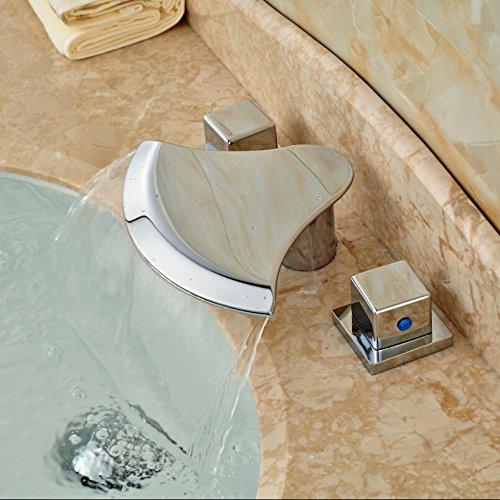 5151buyworld Top Qualität Wasserhahn Chrom poliert Drei Löcher Dual Griffe Badewanne Wasserfall Wasserhahn tapsfor Badezimmer Küche Home Gaden (begriffsklärung), chrom,