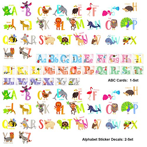 OOTSR Alphabet Animal Wall Stickers (2-Piece) and ABC Cognition Cards(1-Set), Removable ABC Cards Stickers Alphabet Wall Decals Wallpapers for Bedroom Living Room Refrigerator Mug Cups Desks