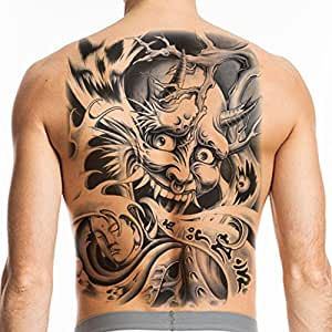 Tafly devil man full back tattoos sexy large for Fake tattoos amazon