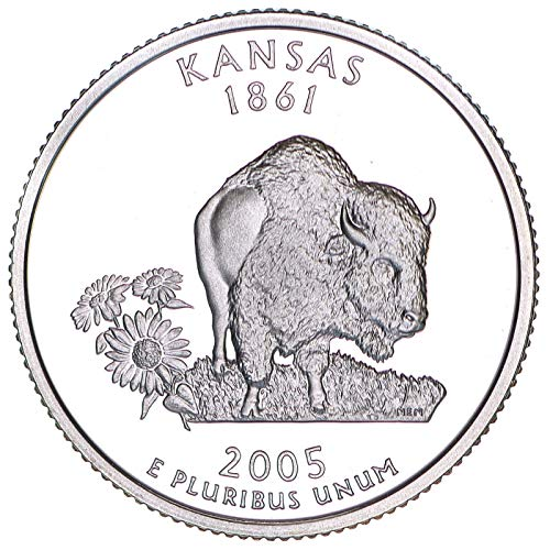2005 S State Quarter Kansas 90% Silver Gem Deep Cameo Proof (2005 Kansas State Quarter)