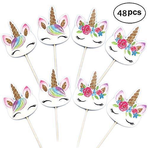 Unicorn Cupcake Toppers, Unicorn Cake Toppers, Double Sided Unicorn Cupcake Cake Picks for Birthday Party Decorations Supplies (48 Pieces)