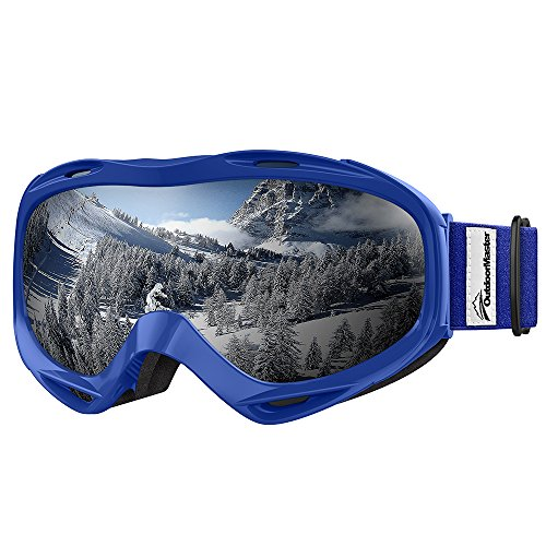 OutdoorMaster OTG Ski Goggles - Over Glasses Ski / Snowboard Goggles for Men, Women & Youth - 100% UV Protection (Blue Frame + VLT 11% Grey Len with REVO Silver) (Youth Skis)