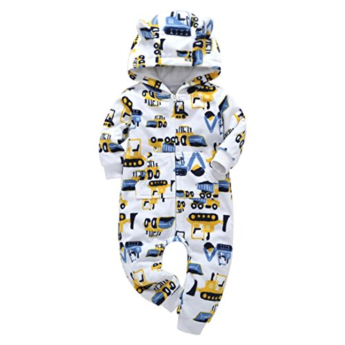 iumei Baby Boys Girls Long Sleeve Thick Car Print Hoodie Romper with Pocket Zip Front Jumpsuit Bodysuit Outfit Clothes (6 Months, (Mos Coverall)