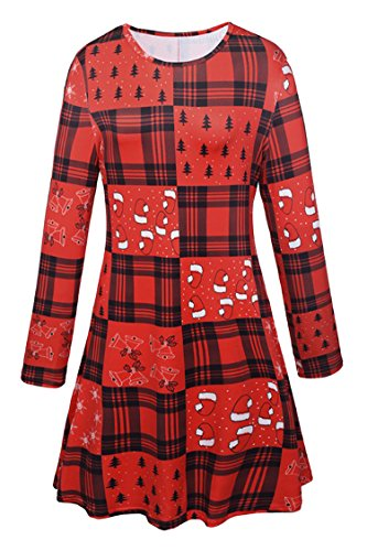 Price comparison product image Pink Queen Girl's Fit and Flare Santa Clause Long Sleeve Printed Skater Dress Pattern 22 Small