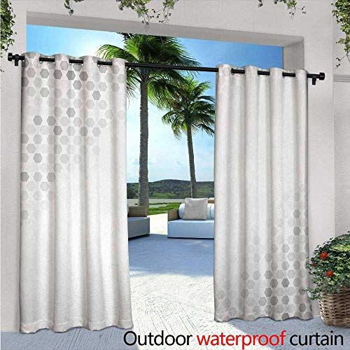 Light 6 Sturbridge (Grey Exterior/Outside Curtains W84 x L96 Abstract Beam Shape with Geometric Six Cornered Mosaic Style Futuristic Artsy Illustration for Patio Light Block Heat Out Water Proof Drape White)
