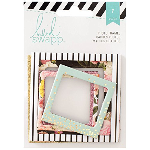 Heidi Swapp 7 Piece Memory Planner Glitter Foil Photo Frames, - Frames Scrapbooking Gold