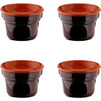 Offre 4fornellini Bagna Cauda cm 14brune terre d'ombrie céramique