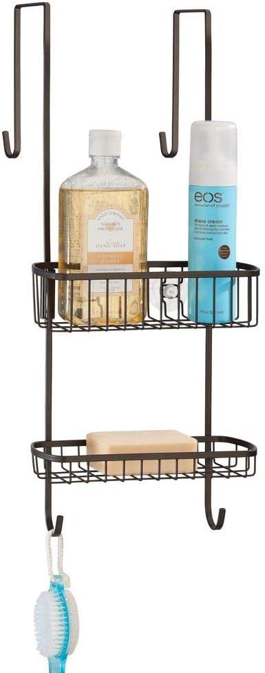 mDesign Estantería de ducha para colgar sobre la mampara – Práctico colgador para ducha de metal resistente sin taladro – Cestas metálicas con ventosas para los accesorios de ducha – bronce: Amazon.es: Hogar