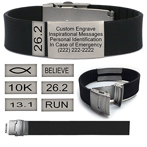 Black Sport Fitness Safety ID Bracelet-Wristband with Badge and Free Personalized Engraving, Hypoallergenic band, and Stainless Steel Matte Plate for Runner, Cyclist, Tri Athletes, Religious (JESUS)