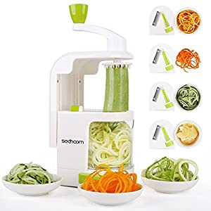 Spiralizer 4-Blade Vegetable Spiralizer, Sedhoom Heavy Duty Spiral Slicer, Zucchini Noodle & Veggie Pasta & Spaghetti Maker for Low Carb/Paleo/Gluten-Free Meals