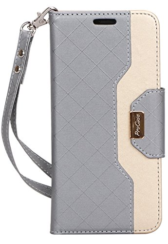 ProCase Galaxy S9 Plus Wallet Case, Flip Kickstand Case with Card Holders Mirror Wristlet, Folding Stand Protective Book Case Cover for 6.2 Inch Galaxy S9+ (2018 Release) -Grey (Flip Fold Wallet)