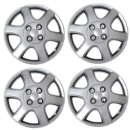 TuningPros WSC3-888S14 4pcs Set Snap-On Type (Pop-On) 14-Inches Metallic Silver Hubcaps Wheel Cover