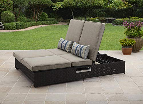 Patio Chaise Lounge. Outdoor Furniture Of Steel & Resin Wicker For Porch, Deck, Lawn, Pool, Garden, Balcony, Conversation, Seating. Double Lounger/ Sofa With Cushions, Multi-adjustable Back Reclines ()