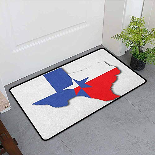 ONECUTE Funny Doormat,Texas Star Outline of The Texas Map American Southwest Austin Houston City,Rustic Home Decor,24