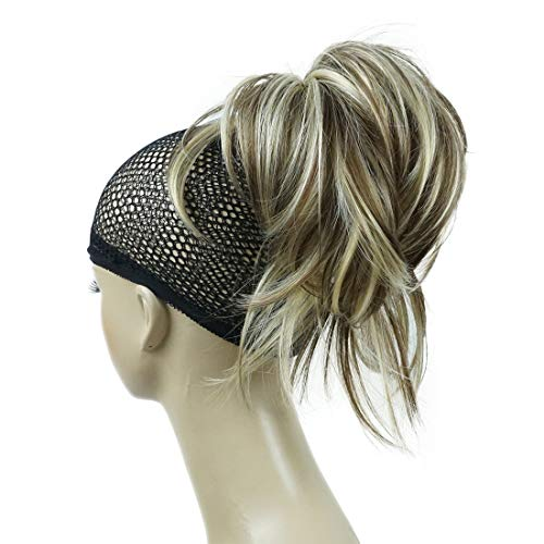 Lydell Adjustable Messy Style Ponytail Hair Extension Synthetic Hairpiece with Jaw Claw Amzing Shape For You #AB461 Brown Highlighted
