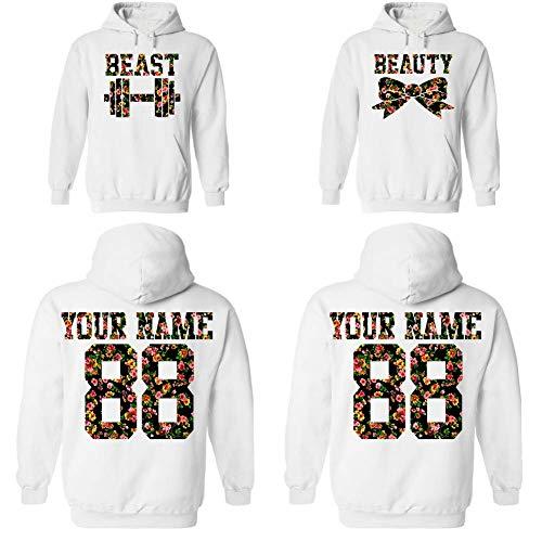 Custom Beauty Beast Couple Floral Pattern Hoodies, Names and Numbers for him and her Matching Couples Hoodie