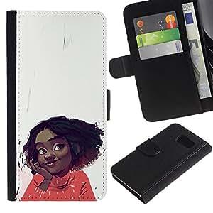 KLONGSHOP / Tirón de la caja Cartera de cuero con ranuras para tarjetas - Cheerful Happy Girl Positive Portrait Art Face - Samsung Galaxy S6 SM-G920