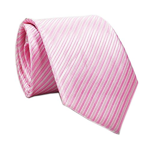 Diagonal Stripe Woven Shirt - Ctskyte Men Boys Classic Fine Stripe Jacquard Woven Ties Formal Business Necktie, Pink, One Size