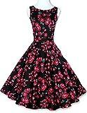 MFrannie Women's Classy Floral Elegant Garden Party Picnic Dress Cocktail Dress Black-XS