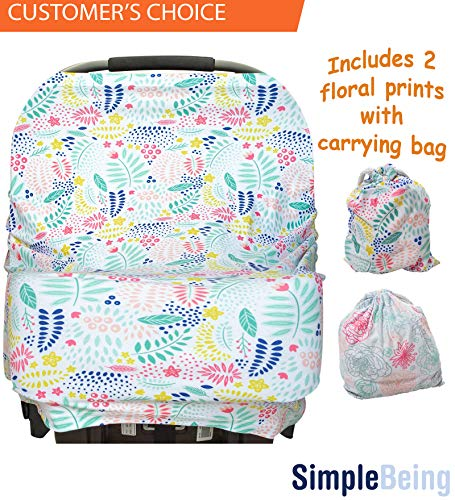 Simple Being Nursing Breastfeeding Cover - Multi Use Car Seat Canopy, Nursing Pads, Shopping Cart, Stroller Covers for Girls and Boys - Baby Shower Registry (Floral)