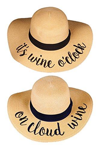 H-2017-2-IWO.OCW Sun Hat Bundle - Its Wine O'clock, On Cloud Wine