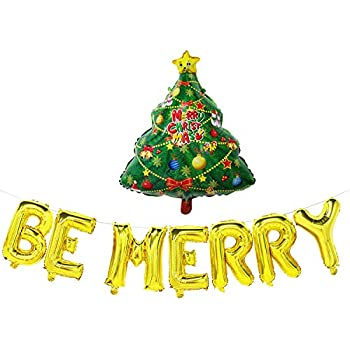 Christmas Tree Balloon.Amazon Com Be Merry Balloon Banner With Christmas Tree