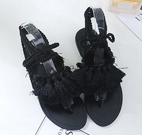 Plage Sandales Lacer Femme Noir Franges Flops Flip Populaire Noir Aisun qvAwTP0xn