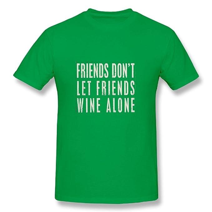 f066e908 Amazon.com: Neck Short Sleeve Cotton T Shirt For Men Friends Don't Let  Friends Wine Alone Tee Shirts: Clothing