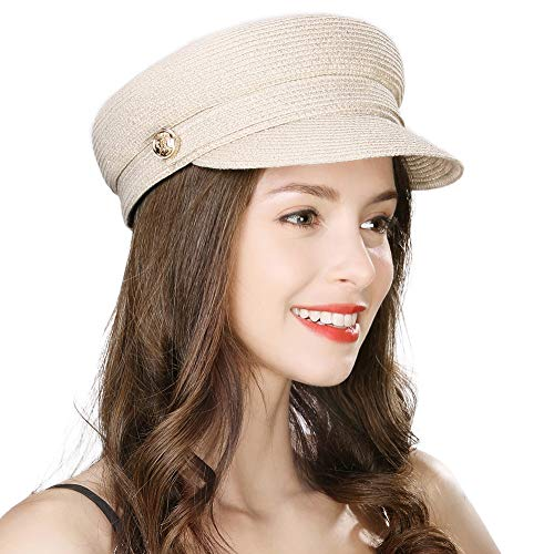 Jeff & Aimy Womens Straw Sun Hat Newsboy Cap Visor Beret Packable Soft Breathable Fashion Cap Beige
