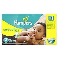 Pañales desechables Pampers Swaddlers Tamaño 3, 124 unidades, GIGANTE (el empaque puede variar)