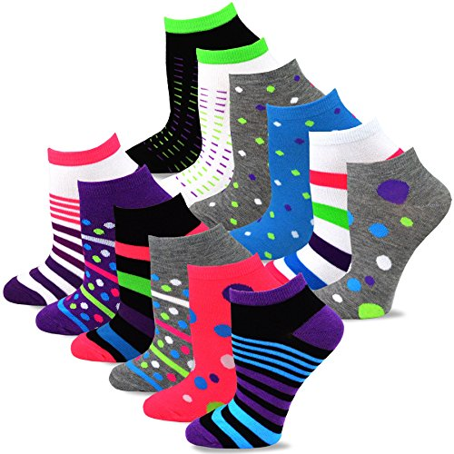 (TeeHee Women's Fashion No Show/Low cut Fun Socks 12 Pairs Packs (Dots and Stripes))