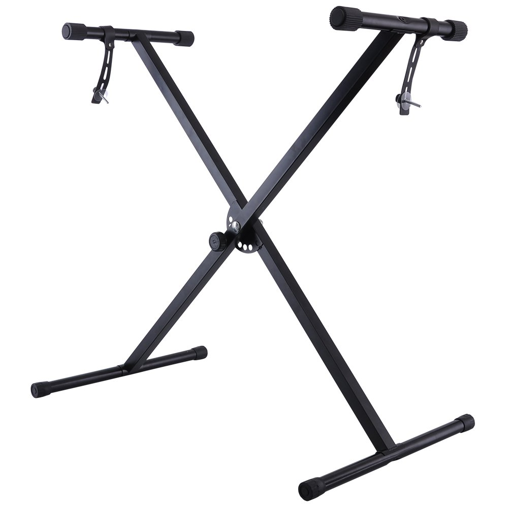 Portable Adjustable Black Electronic Keyboard X-Stand Lightweight Piano Display Standard Rubber Feet